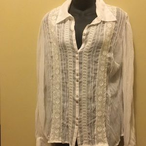 Tops - Sheer lace adorned blouse size 12/14